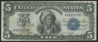 1899 'Indian Chief' $5 Five Dollars Blue Seal Silver Certificate Large Size Bank Note Bill
