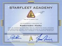 "William Shatner & Leonard Nimoy Signed ""Starfleet Academy"" Star Trek Certificate (JSA LOA)"