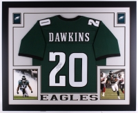 "Brian Dawkins Signed Eagles 35"" x 43"" Custom Framed Jersey (JSA COA)"