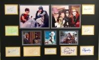 1960's Batman Television Cast 24x36 Custom Framed Cut Display Signed by (9) with Adam West, Burt Ward, Cesar Romero, Burgess Meredith, Frank Gorshin, Lee Meriwether, Yvonne Craig, Eli Wallach, & Neil Hamilton (JSA COA)