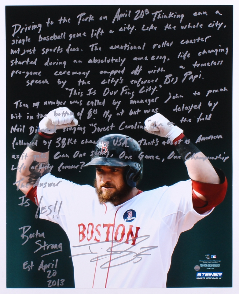 018557ae3ad Jonny Gomes Signed Red Sox 16x20 Photo With Inscription (Steiner COA)