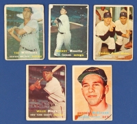 1957 Topps Complete Set of (407) Baseball Cards with #1 Ted Williams, #10 Willie Mays, #95 Mickey Mantle, #328 Brooks Robinson, #407 Yankee's Power Hitters at PristineAuction.com