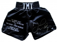 "Floyd Mayweather Jr Signed ""McGregor vs Money Fight"" Black Boxing Trunks (Beckett COA) at PristineAuction.com"