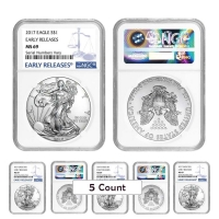 Lot of (5) 2017 1 oz Silver American Eagle $1 Coins - Early Releases (NGC MS 69) at PristineAuction.com