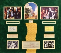 "The Wizard of Oz 29"" x 28"" Custom Framed Cut Display Signed by (6) with Judy Garland, Ray Bolger, Jack Haley, Bert Lahr, Billie Burke, and Margaret Hamilton (JSA LOA & JSA COA)"