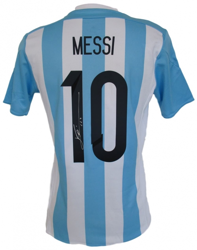 Lionel Messi Signed Argentina Adidas Soccer Jersey Inscribed