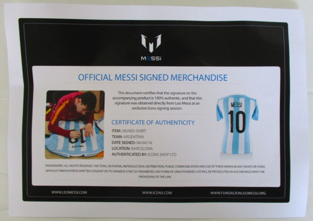 a4088bb68 Lionel Messi Signed Argentina Adidas Soccer Jersey Inscribed