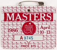 Original 1986 Masters Augusta National Golf Club Badge