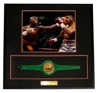 Floyd Mayweather Jr. Signed 31x32x3 Custom Shadowbox Display with Mini Championship Belt (Beckett COA)