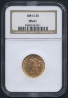 1884-S $5 Five Dollars Liberty Head Half Eagle Gold Coin (NGC MS 61)