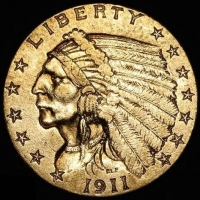 1911 $2.50 Indian Head Quarter Eagle Gold Coin (High Grade Condition) at PristineAuction.com