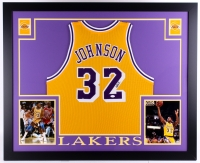 "Magic Johnson Signed Lakers 35"" x 43"" Custom Framed Jersey (JSA COA) at PristineAuction.com"