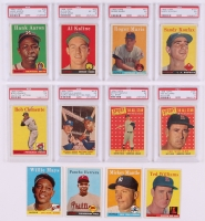 1958 Topps Complete Set of (494) Baseball Cards With (82) PSA Graded Including #47 Roger Maris RC PSA 5, #150 Mickey Mantle, #187 Sandy Koufax PSA 5, #30 Hank Aaron PSA 6