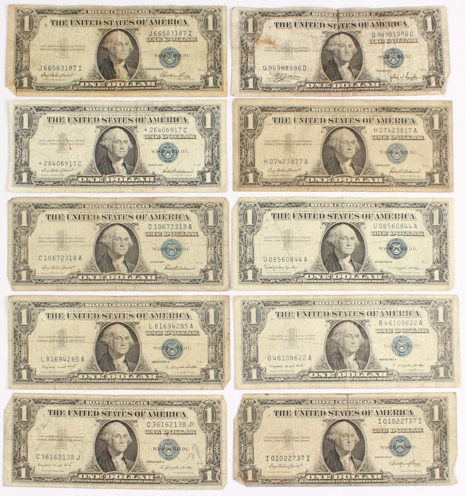 Online sports memorabilia auction pristine auction lot of 10 1935 1957 1 one dollar us silver certificate at pristineauction xflitez Images
