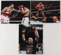Lot of (3) Signed 8x10 Photos with (1) Mike Tyson Photo, (1) Larry Holmes Photo & (1) Georges St. Pierre Photo (Schwartz & JSA COA)