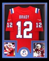 Tom Brady Signed Patriots 34x42 Custom Framed Jersey (Radtke COA)