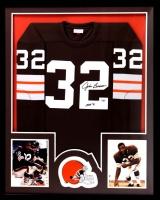"Jim Brown Signed Browns 34x42 Custom Framed Jersey Inscribed ""HOF 71"" (Radtke COA)"