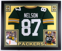 "Jordy Nelson Signed Packers 35"" x 43"" Custom Framed Jersey (JSA)"