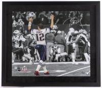 "Tom Brady Signed Patriots 27.5"" x 31.5"" Custom Framed Photo Display (Steiner COA & TriStar Hologram)"