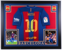 "Lionel Messi Signed Barcelona 35.5"" x 43.5"" Custom Framed Jersey (PSA LOA)"