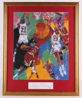 "LeRoy Neiman Signed ""Michael Jordan"" 25.75"" x 31.75"" Custom Framed Print Display (PSA COA)"