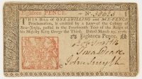 1776 New Jersey 18p. Eighteen-Pence Colonial Currency Note - March 25th, 1776