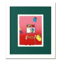 "Peter Max ""Umbrella Man"" Signed 8.5"" x 11"" Original Acrylic Mixed Media Painting 1/1 (Custom Framed to 19"" x 21.5"") (Max LOA)"