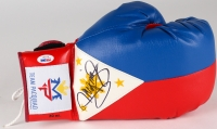 """Manny Pacquiao Signed """"Flag of the Philippines"""" Boxing Glove (PSA COA)"""