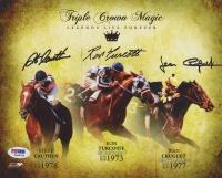 """Ron Turcotte, Jean Cruguet & Steve Cauthen Signed """"Triple Crown Magic"""" 8x10 Photo (PSA COA)"""