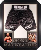 Floyd Mayweather Jr. Signed 35x43 Custom Framed Boxing Trunks Display (JSA COA)