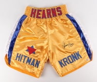 """Tommy Hearns Signed """"Hit Man"""" Boxing Trunks (Beckett COA)"""