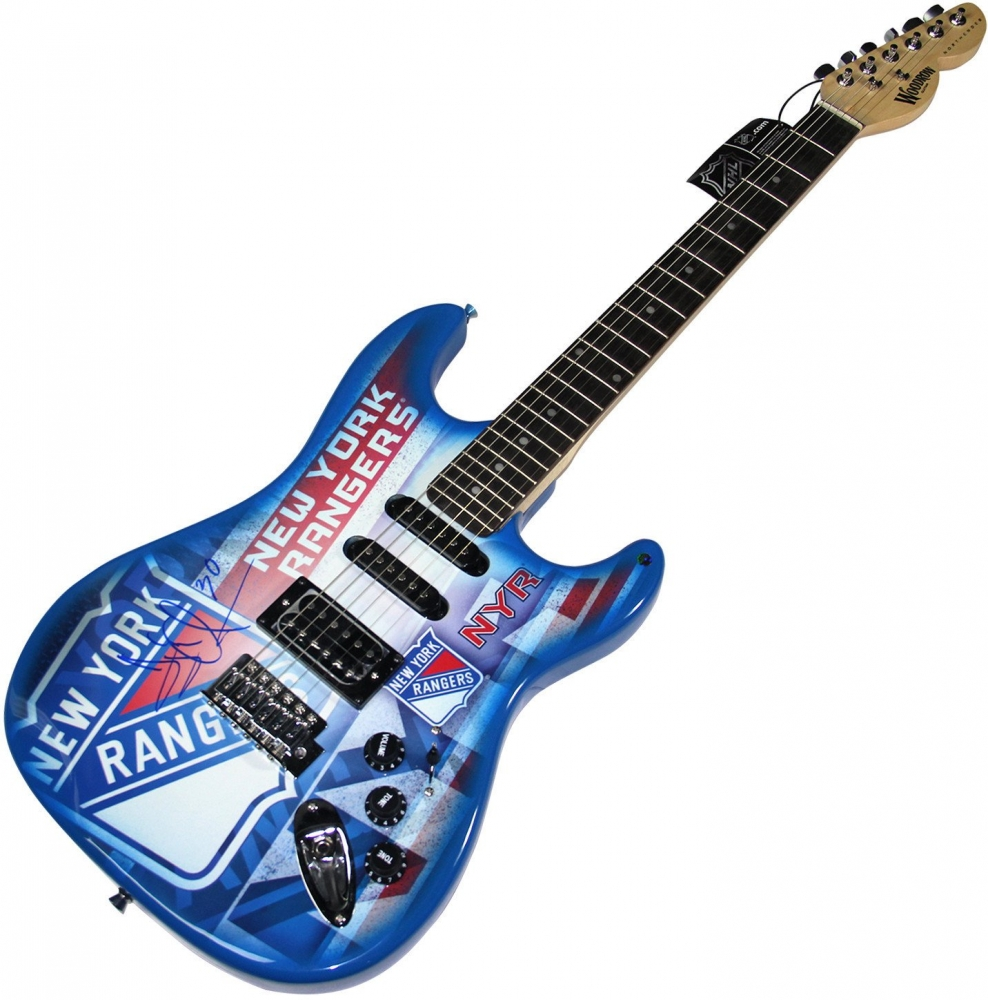 Henrik Lundqvist Signed Rangers Electric Guitar (Steiner Hologram) at PristineAuction.com