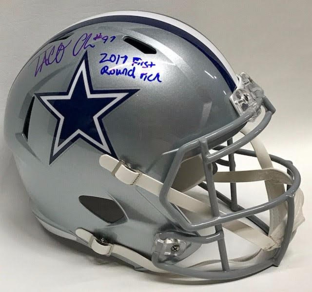 Taco Charlton Signed Cowboys Full-Size Speed Helmet Inscribed