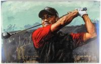 "Tiger Woods & Stephen Holland Signed ""Tiger Woods Tee Off"" 28x44 LE Hand-Embellished Giclee on Canvas (JSA ALOA)"
