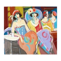 "Isaac Maimon Signed ""Girls Night"" 22x22 Original Acrylic Painting on Canvas"