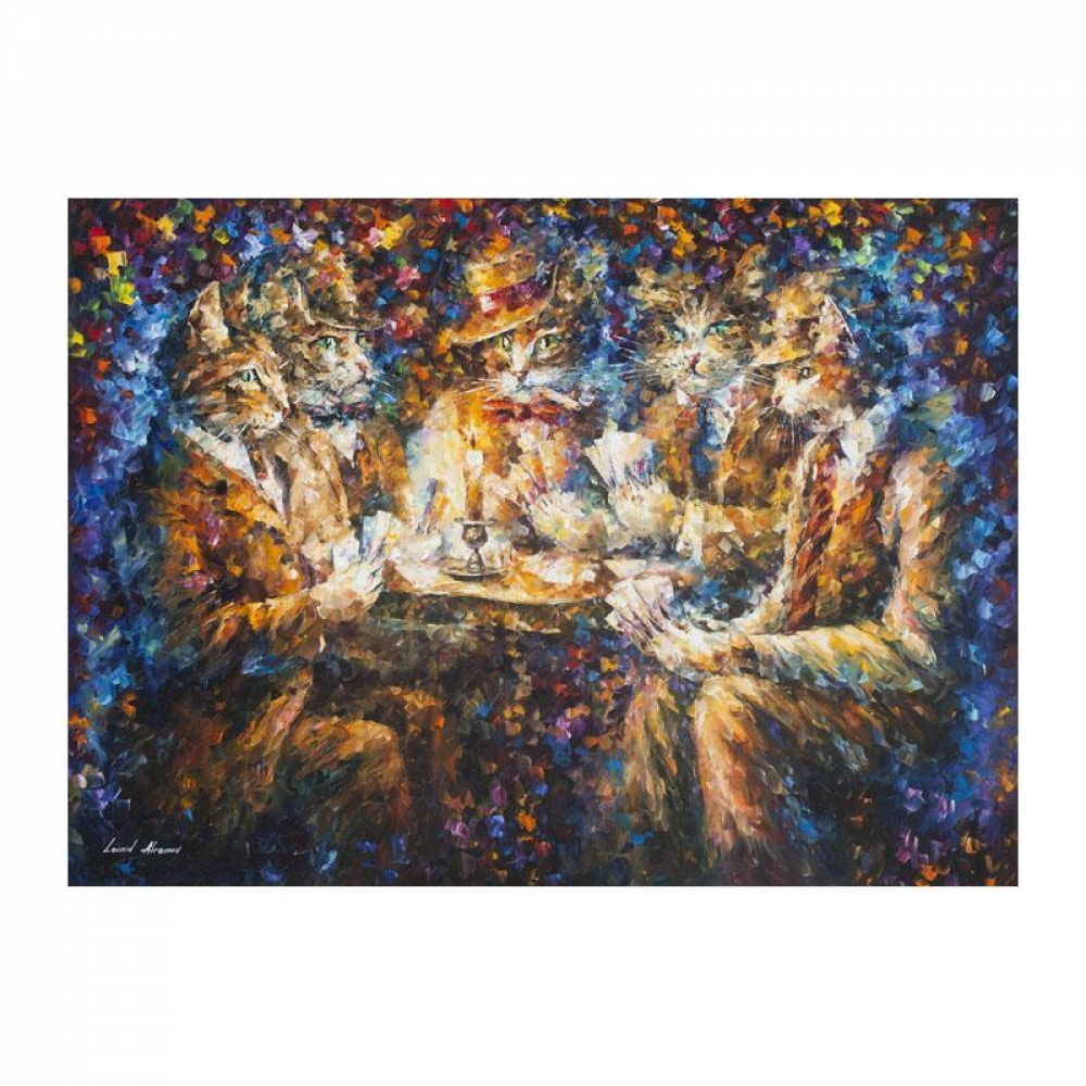 "Leonid Afremov Signed ""Serious Game"" 42x57 Original Oil Painting on Canvas at PristineAuction.com"
