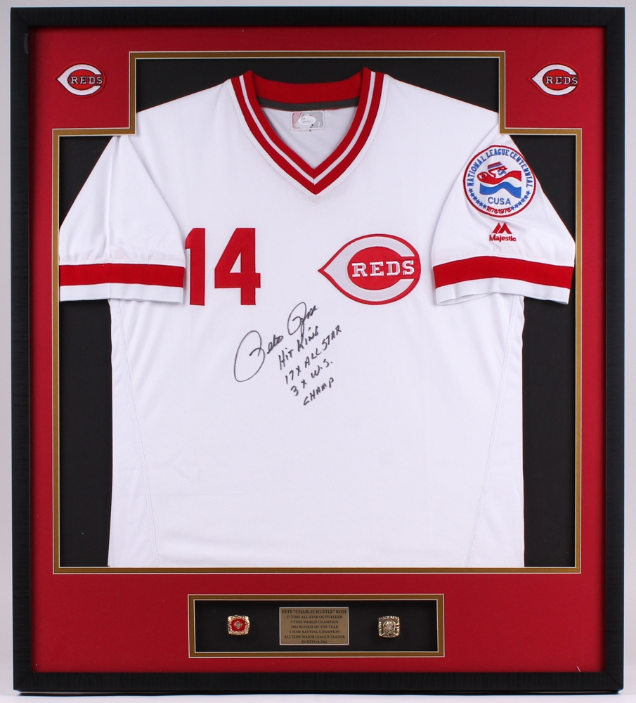 22160acd5 Pete Rose Signed Reds 33.5x37.5x2 Custom Framed Shadowbox Jersey Display  Inscribed