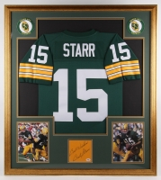 "Bart Starr Signed Packers 34.75x38.75 Custom Framed Jersey Display Inscribed ""Best Wishes"" (PSA LOA)"
