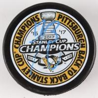 Bryan Rust Signed Penguins Logo Hockey Puck (TSE COA)