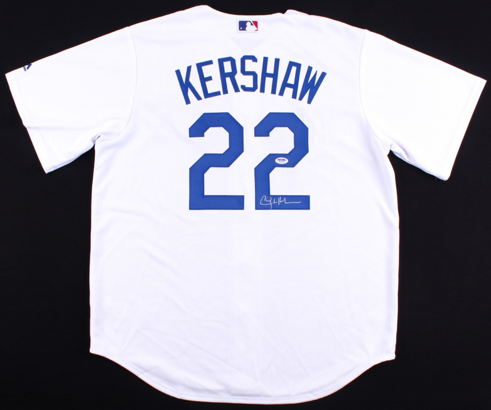clayton kershaw signed dodgers authentic majestic cool base jersey psa coa at pristineauction.