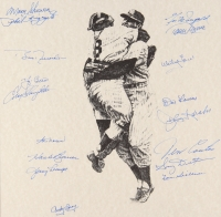 New York Yankees Team-Signed 1956 World Series Champions 20x22 Custom Framed Lithograph Display with (17) Signatures Including Yogi Berra, Phil Rizzuto, Enos Slaughter, Whitey Ford with Vintage Yankees Pennant (PSA LOA) at PristineAuction.com