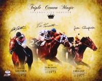 """Ron Turcotte, Jean Cruguet & Steve Cauthen Signed """"Triple Crown Magic"""" 16x20 Photo (PSA COA)"""