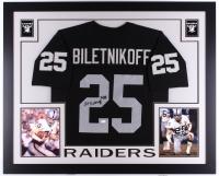"Fred Biletnikoff Signed Raiders 35x43 Custom Framed Jersey Inscribed ""HOF 88"" (JSA COA)"