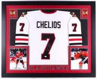 Chris Chelios Signed Blackhawks 35x43 Custom Framed Jersey (JSA COA)