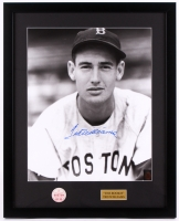 Ted Williams Signed Red Sox 21x26 Custom Framed Photo Display with 1950's Red Sox Pin (Williams COA & PSA LOA)