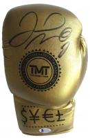 Floyd Mayweather Jr Signed Gold TMT Left Hand Boxing Glove Beckett (Beckett COA)