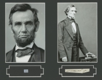 Abraham Lincoln & Jefferson Davis 8x10 Custom Matted Display with (2) Hand-Written Words from Document (PSA LOA Copy) at PristineAuction.com