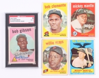 Complete Set of (572) 1959 Topps Baseball Cards with Bob Gibson Signed #514 RC (SGC Encapsulated) & #10 Mickey Mantle, #564 Mickey Mantle AS, #50 Willie Mays, #478 Roberto Clemente