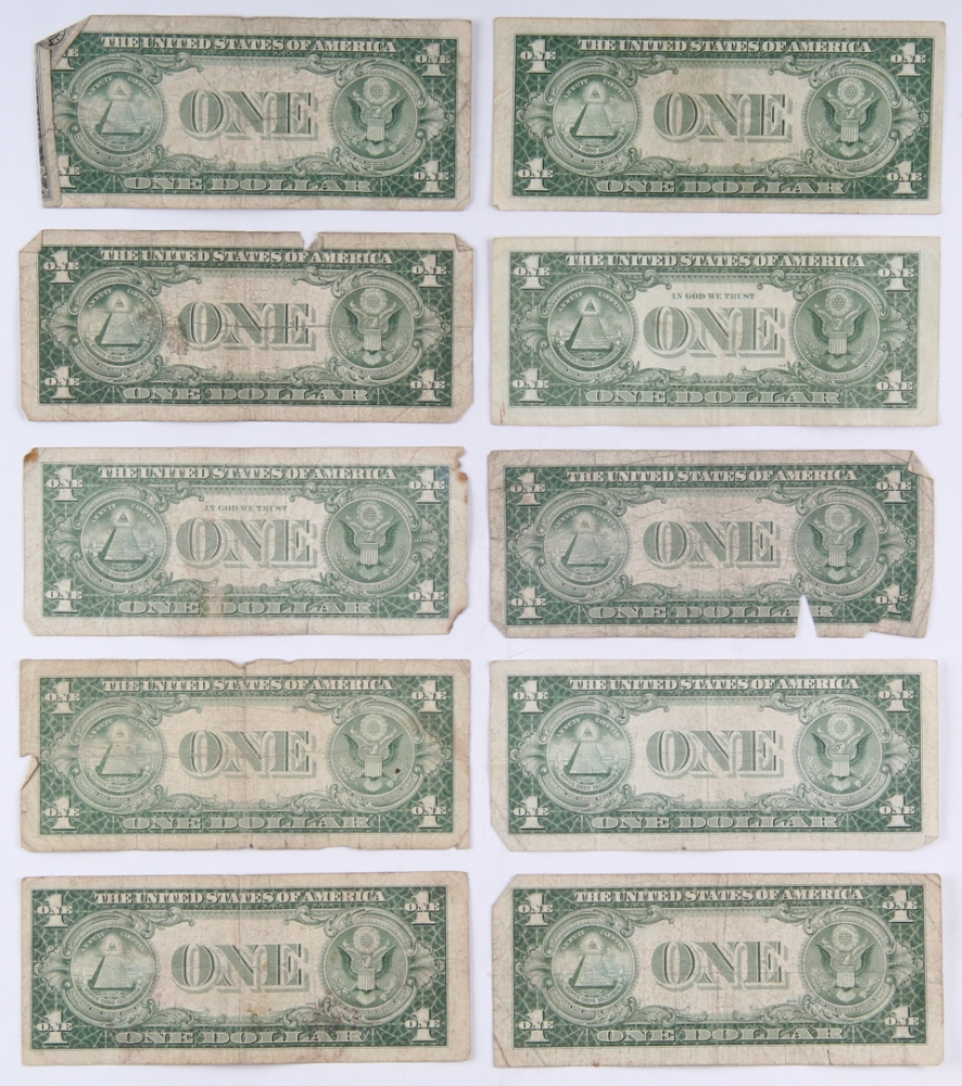 Online sports memorabilia auction pristine auction lot of 10 1935 1957 silver certificate 1 one dollar bills at pristineauction xflitez Images