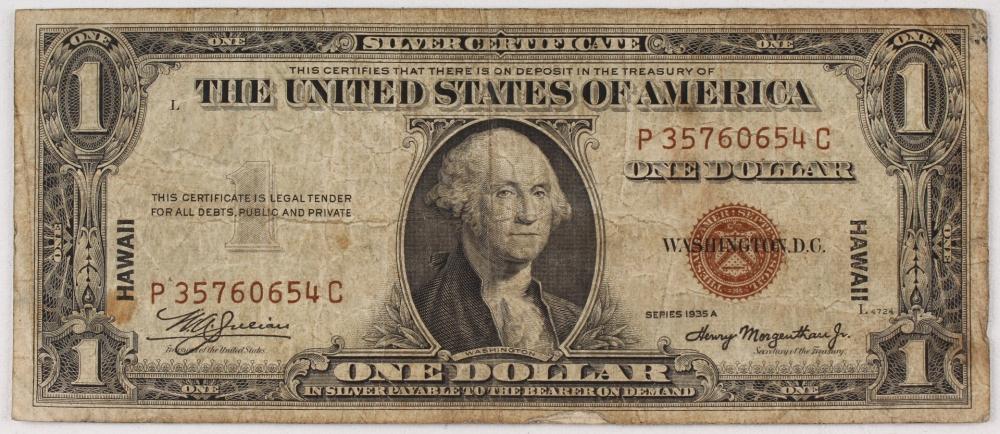 "World War II 1935 series A /""HAWAII/"" $1 Silver Certificate Note-WWII"